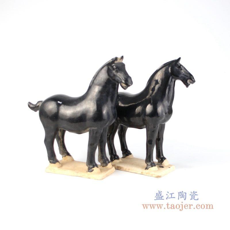 RZLN04 盛江陶瓷 仿古唐三彩陶瓷马摆件三彩艺术品软装中式家居装饰