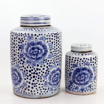 RZKT11-G/RZKT11-A景德镇陶瓷 仿古做旧青花牡丹纹陶瓷盖罐
