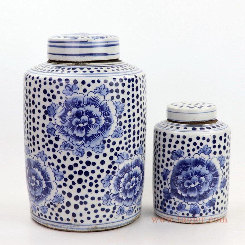 RZKT11-G-A 盛江陶瓷 仿古做旧青花牡丹纹陶瓷盖罐