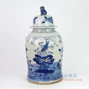 RYKB156-B 景德镇陶瓷 纯手工手绘青花做旧荷花纹狮子头盖将军罐