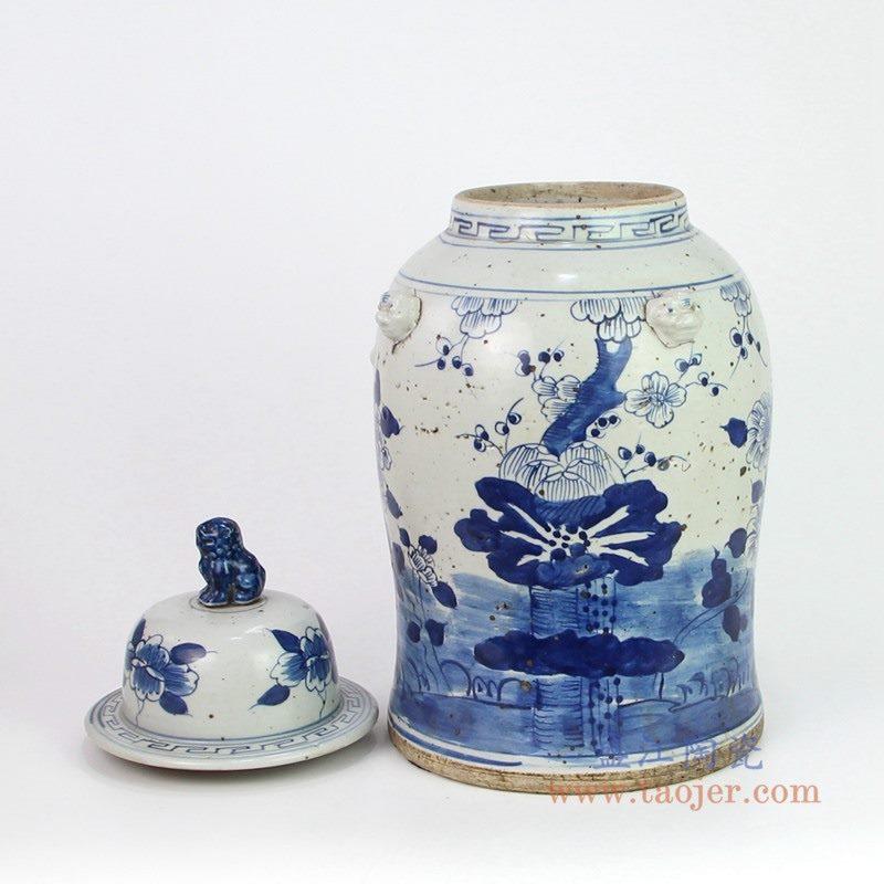 RYKB156-B 盛江陶瓷 纯手工手绘青花做旧荷花纹狮子头盖将军罐