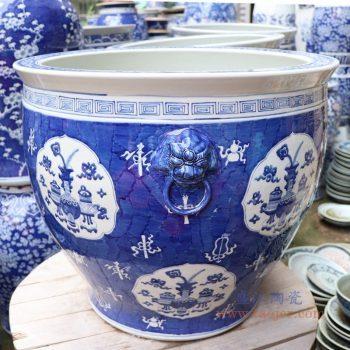 RYLU176-A 景德镇陶瓷 手绘仿古青花博古画双耳大金鱼缸风水缸花盆