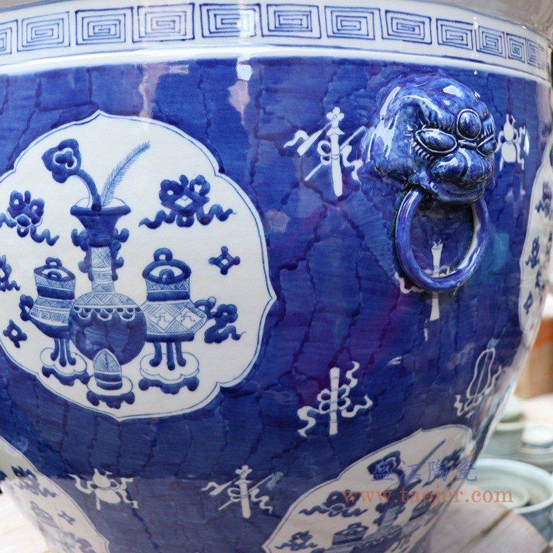 RYLU176-A 盛江陶瓷 手绘仿古青花博古画双耳大金鱼缸风水缸花盆
