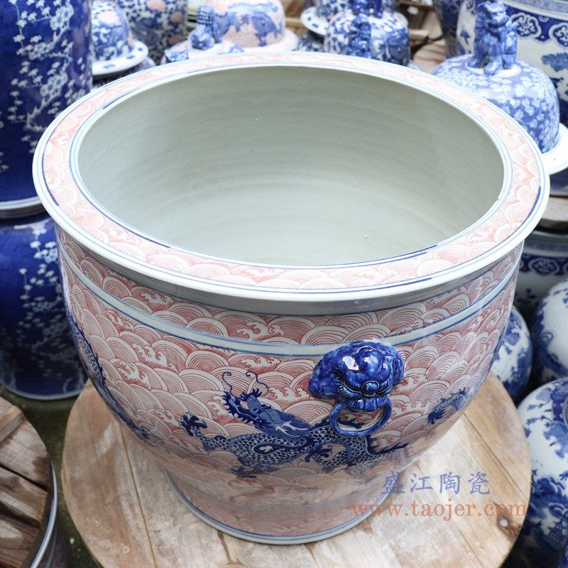 RYLU176-B 盛江陶瓷 青花釉里红海水龙纹双耳大缸水缸