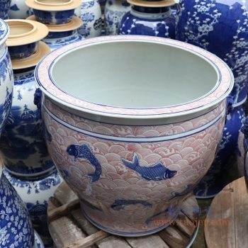 RYLU176-C 景德镇陶瓷 青花釉里红海水纹双耳鱼纹图案大缸水缸 花盆鱼缸