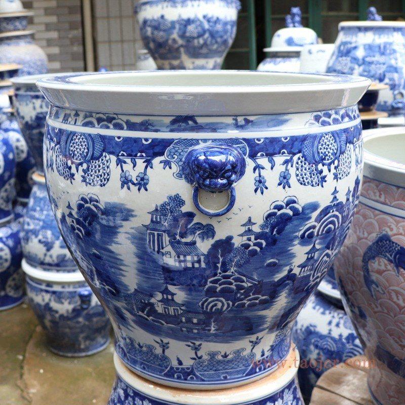 RYLU176-D 盛江陶瓷 手绘青花山水双耳金鱼缸