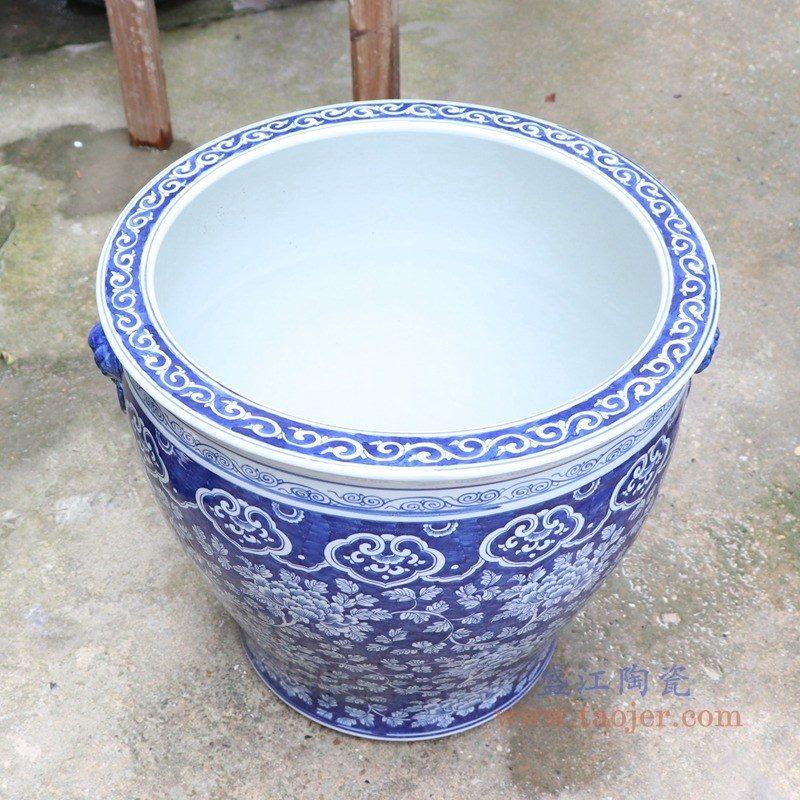 RYLU176-E 盛江陶瓷 手绘青花梅花双耳金鱼缸