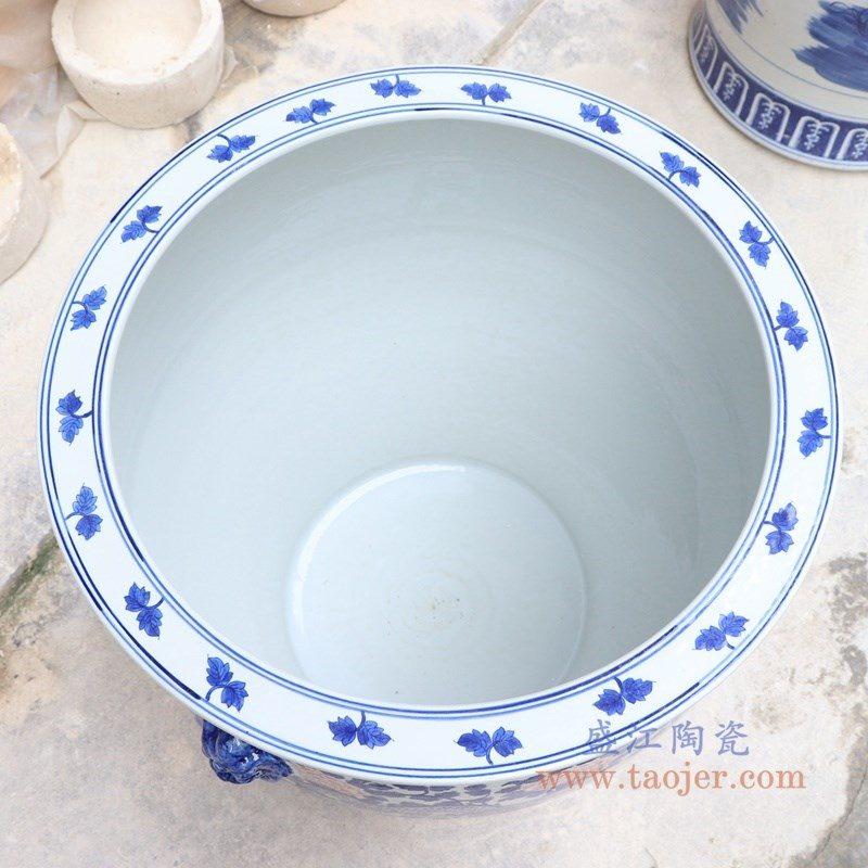 RYLU176-H 盛江陶瓷 青花釉里红九龙双耳大鱼缸