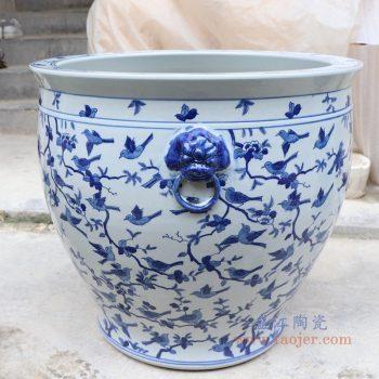 RYLU176-I 景德镇陶瓷 青花飞鸟图案双耳鱼缸乌龟缸睡莲缸水缸 花盆