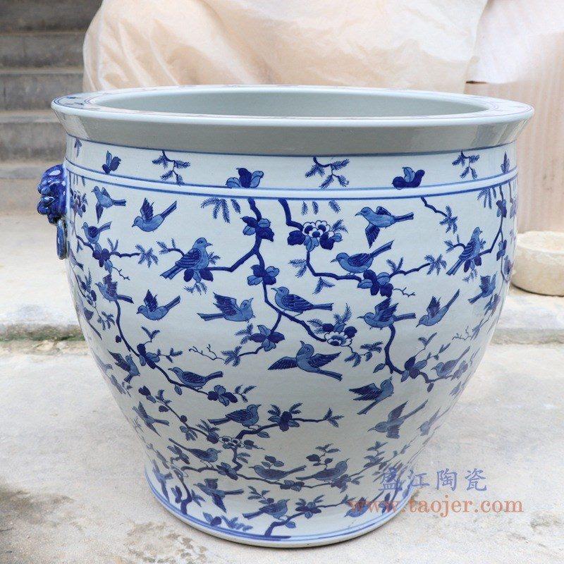 RYLU176-I 盛江陶瓷 手绘青花山水双耳金鱼缸