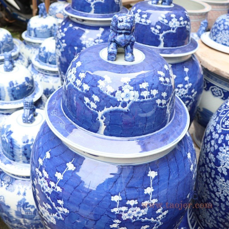 RYLU177-A 盛江陶瓷 手绘陶瓷冰梅牡丹将军罐