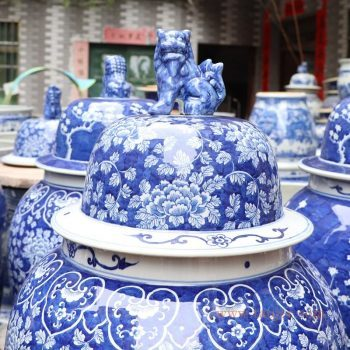 RYLU177-B 景德镇陶瓷 手绘陶瓷冰梅牡丹将军罐