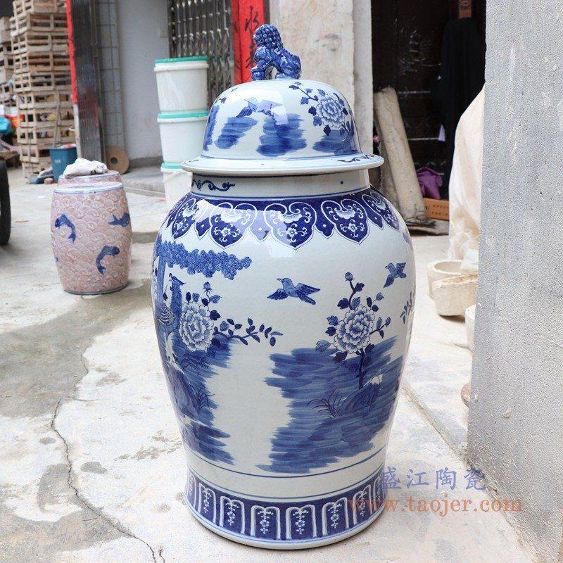 RYLU177-C 盛江陶瓷 青花狮子头凤凰牡丹将军罐
