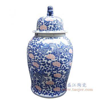 RYLU177-D 景德镇陶瓷 青花釉里红缠枝莲将军罐