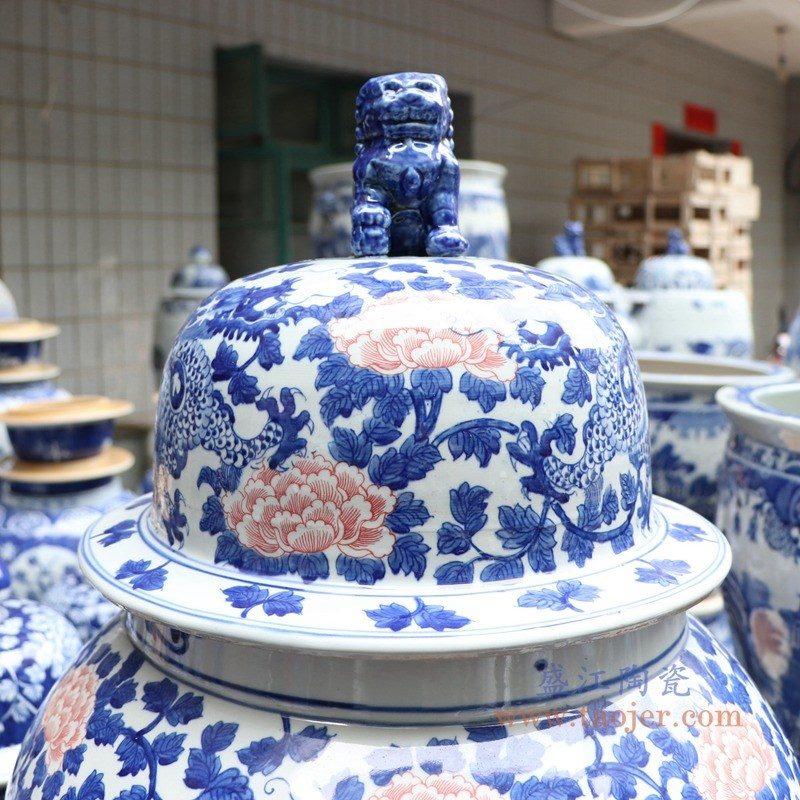 RYLU177-D 盛江陶瓷 青花釉里红缠枝莲将军罐