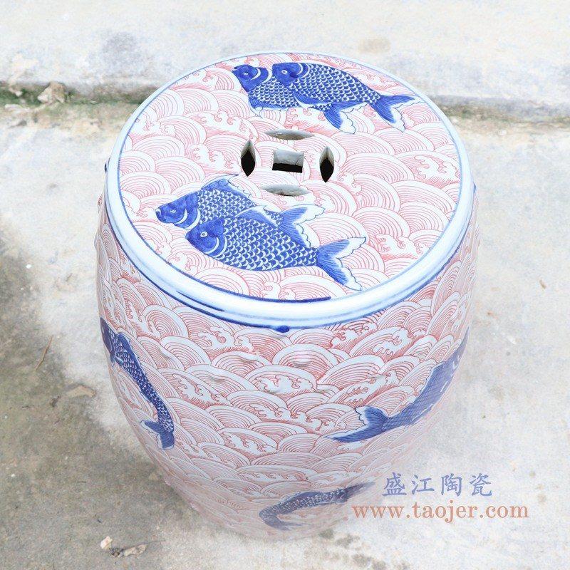 RYLU178-A 盛江陶瓷 青花釉里红海水龙纹陶瓷凳