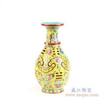 RYLW16 景德镇陶瓷 仿古手绘粉彩陶瓷花瓶