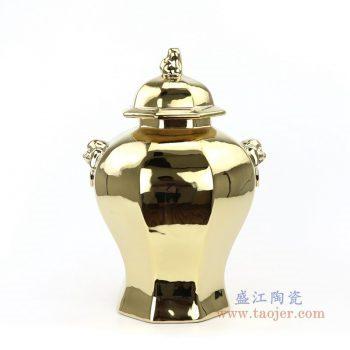 RYNQ166-E 景德镇陶瓷 镀金镀银大肚将军罐储物罐