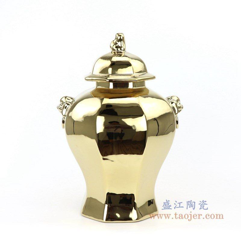 RYNQ166-E 盛江陶瓷 景德镇陶瓷镀金镀银大肚将军罐储物罐