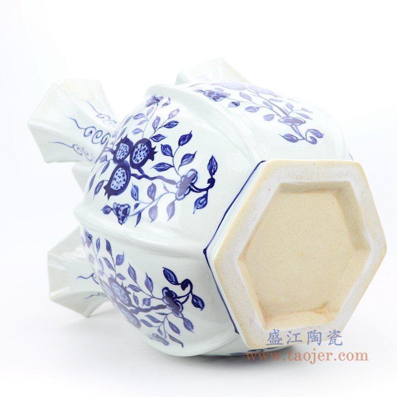 RYNQ253 盛江陶瓷 青花花卉五口瓶