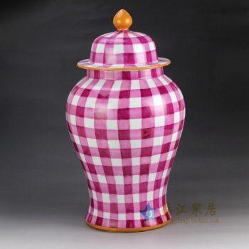 RYOK79-B 景德镇陶瓷 手绘描金新彩田园风简约图案陶瓷将军罐