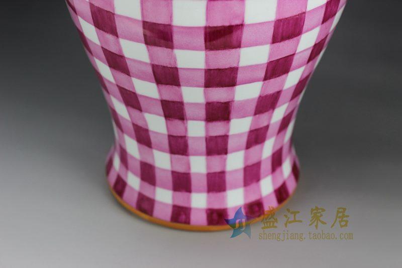RYOK79-B 盛江陶瓷 手绘描金新彩田园风简约图案陶瓷将军罐