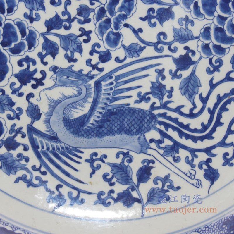 RYQQ44-F 景德镇陶瓷 仿古手绘青花缠枝凤凰纹瓷盘赏盘