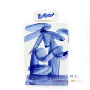 RYQQ56 景德镇陶瓷 青花手绘写意四方茶叶罐