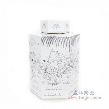 RYSM03-A 景德镇陶瓷 手绘人物六方茶叶罐