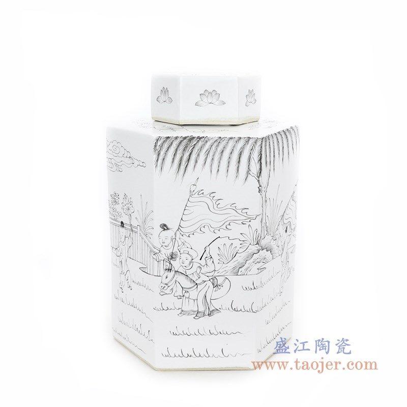 RYSM03-A 盛江陶瓷 手绘人物六方茶叶罐