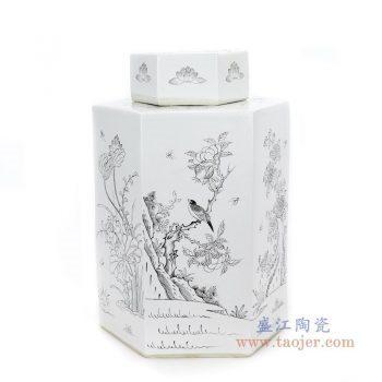 RYSM03-B 景德镇陶瓷 手绘花鸟六方茶叶罐