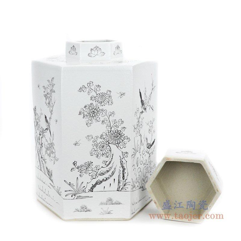 RYSM03-B 盛江陶瓷 手绘花鸟六方茶叶罐