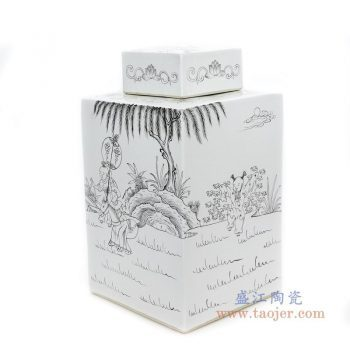 RYSM04-A 景德镇陶瓷 手绘人物山水四方茶叶罐