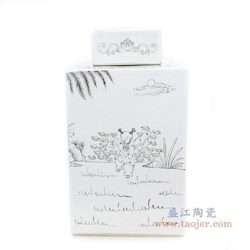 RYSM04-A 盛江陶瓷 手绘人物山水四方茶叶罐