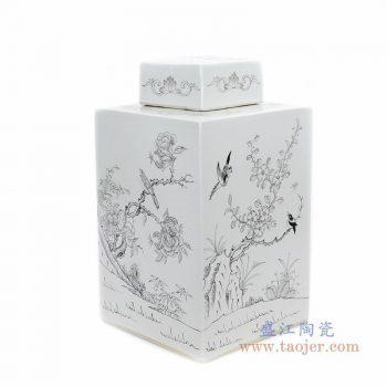 RYSM04-B 景德镇陶瓷 手绘花鸟四方茶叶罐