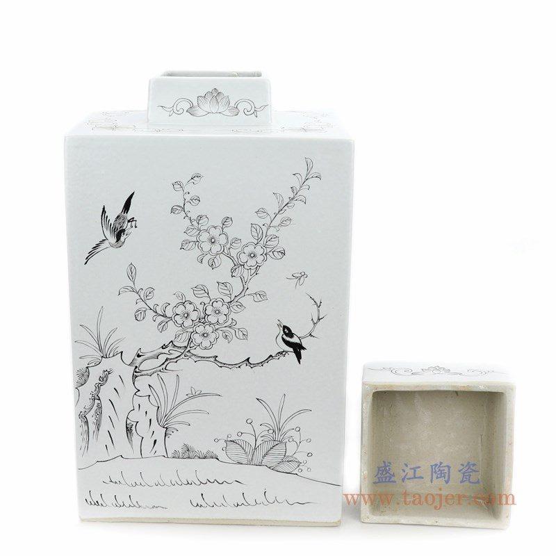 RYSM04-B 盛江陶瓷 手绘花鸟四方茶叶罐