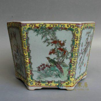 RYSZ11 景德镇陶瓷 手绘粉彩六方古典中国风兰花人物花鸟图六角花盆