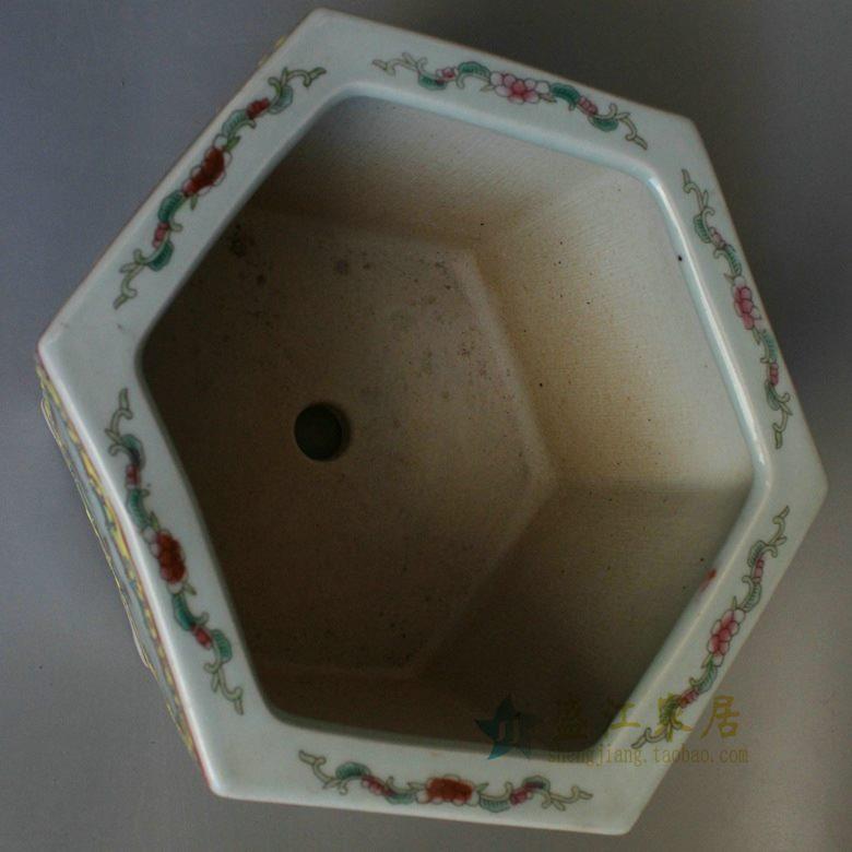RYSZ11 盛江陶瓷 手绘粉彩六方古典中国风兰花人物花鸟图六角花盆