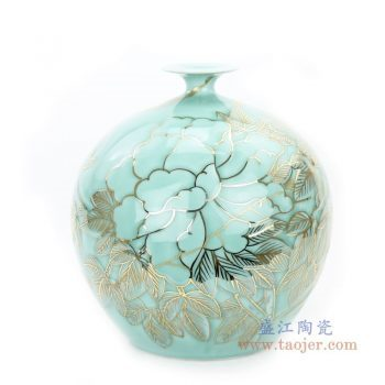 RYTA11 景德镇陶瓷 手绘浮雕影青描金石榴瓶客厅装饰品摆件