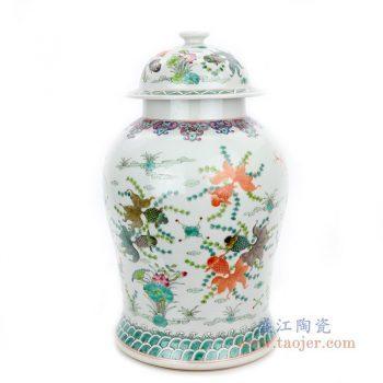 RYWQ14 景德镇陶瓷 粉彩手绘五彩鱼澡纹将军瓶