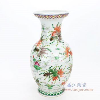 RYWQ15 景德镇陶瓷 粉彩手绘五彩鱼澡纹花瓶