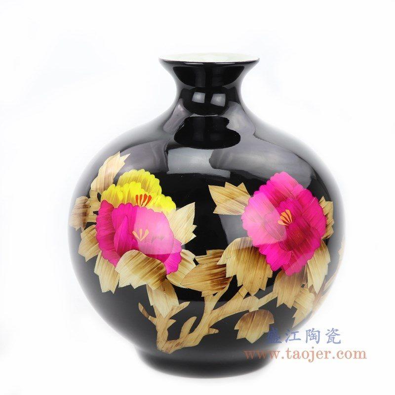 RYXF21 盛江陶瓷 红色牡丹花瓶现代中式客厅家居插花摆件