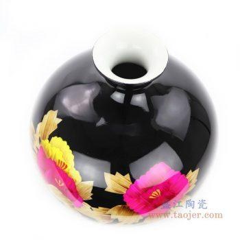 RYXF21 景德镇陶瓷 红色牡丹花瓶现代中式客厅家居插花摆件
