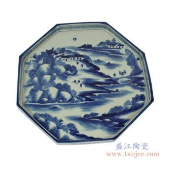 RZAJ12-B 大 景德镇陶瓷 仿古瓷青花盘茶托