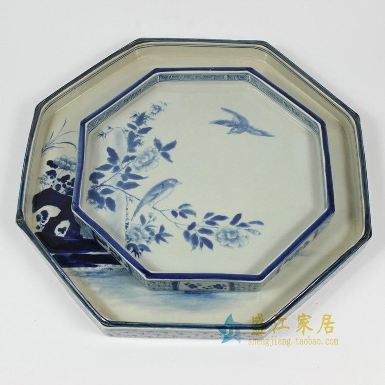 RZAJ12-C 盛江陶瓷 景德镇仿古瓷青花盘茶托