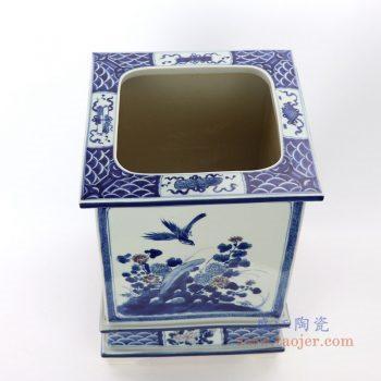 RZAJ17 景德镇陶瓷  仿古做旧手绘青花花鸟花盆