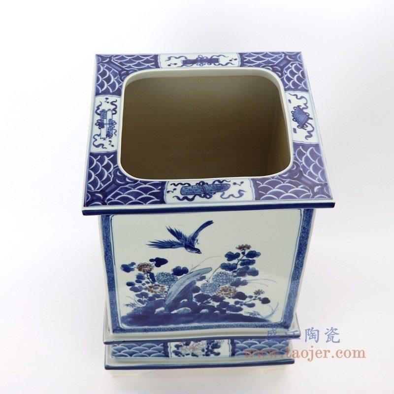 RZAJ17 盛江陶瓷 仿古做旧手绘青花花鸟花盆
