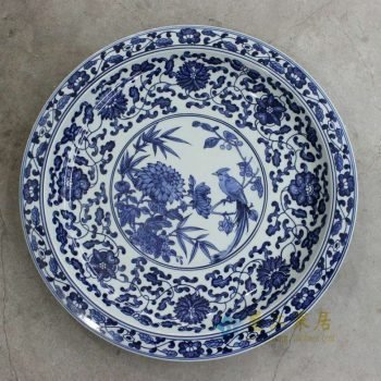 RZBD05 景德镇陶瓷 仿古青花手绘花鸟图案装饰挂盘瓷盘坐盘