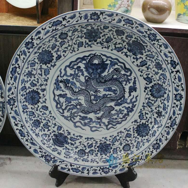 RZBD06 盛江陶瓷 仿古青花手绘龙纹图案装饰挂盘瓷盘坐盘