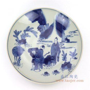 RZDC09-C 景德镇陶瓷  仿古手绘青花人物风景图案瓷盘